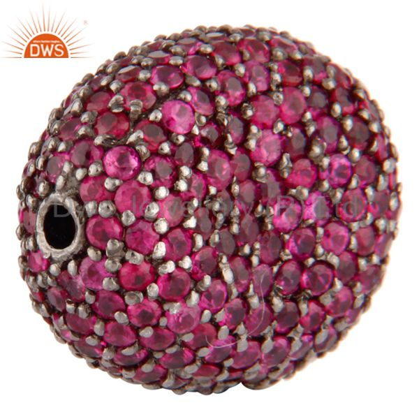 Exporter Natural Ruby Gemtone 925 Sterling Silver Bead Spacer Disco Ball Finding Jewelry