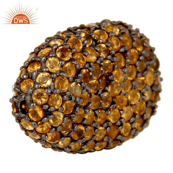 Exporter Oxidized Sterling Silver Citrine Pave Set Ball Beads Finding Charms Jewelry