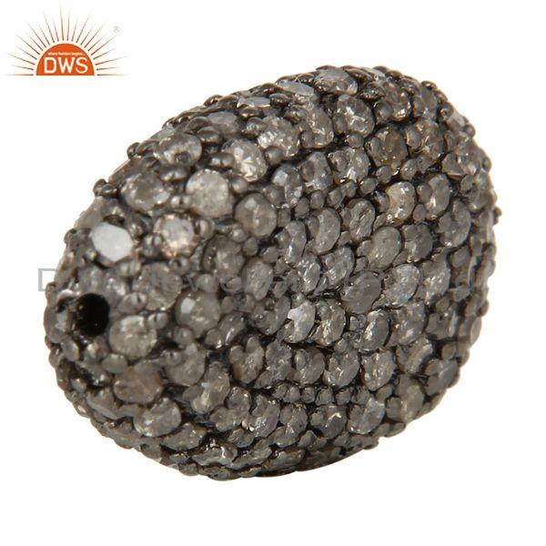 Exporter Oxidized Sterling Silver Diamond Pave Set Ball Beads Finding Charms Jewelry
