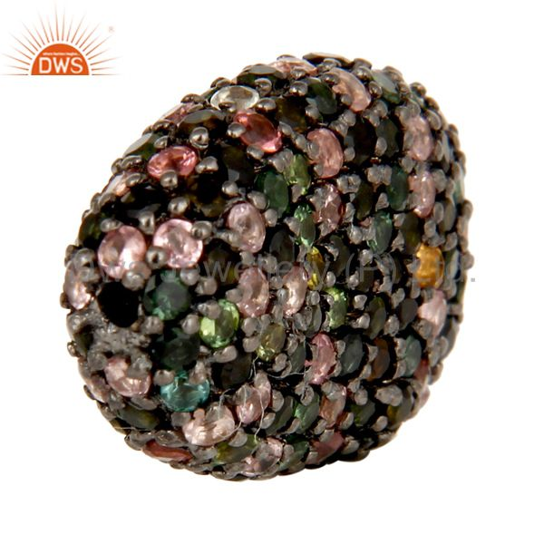 Exporter Oxidized Sterling Silver Multi Tourmaline Pave Set Ball Beads Finding Charms