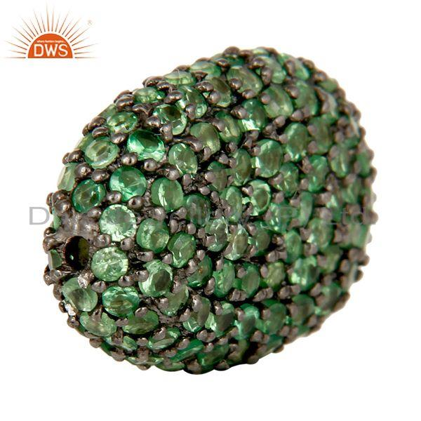 Exporter Oxidized Sterling Silver Tsavorite Pave Set Ball Beads Finding Charms Jewelry