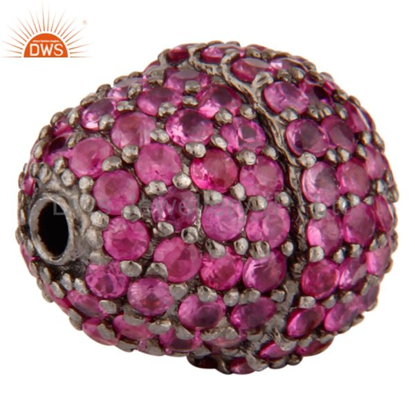 Exporter Pink Sapphire Studded 925 Sterling Silver Gemstone Pave Disc Connector Finding