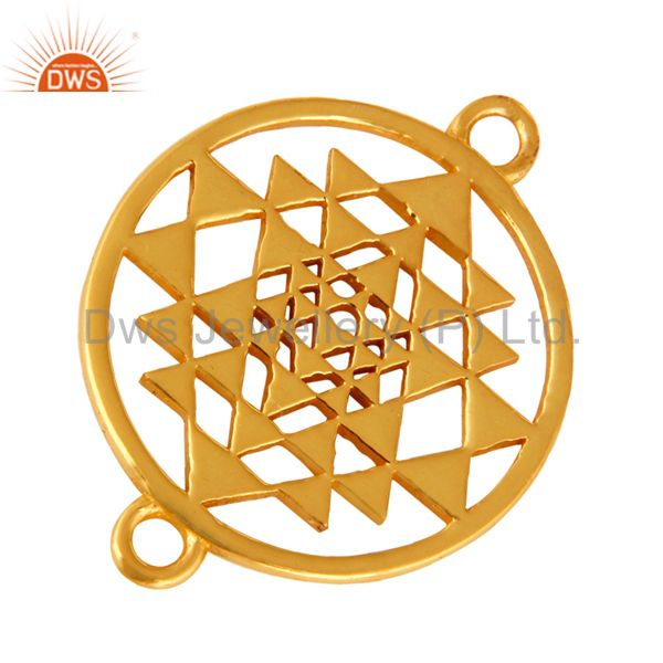 Exporter 18K Gold Plated Sterling Silver Sri Yantra Charm Connector For Spiritual Jewelry