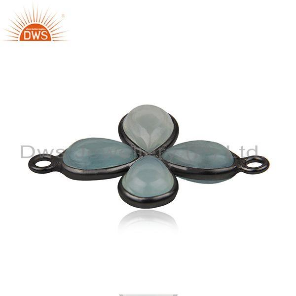 Exporter Black Rhodium Plated Brass Chalcedony Gemstoen Jewelry Findings Connectors
