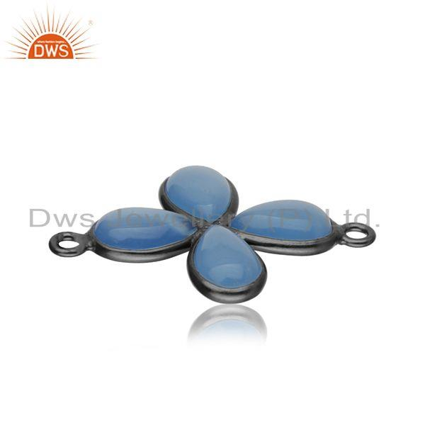 Exporter Blue Chalcedony Gemstone Brass Black Rhodium Plated Connector Jewelry Findings