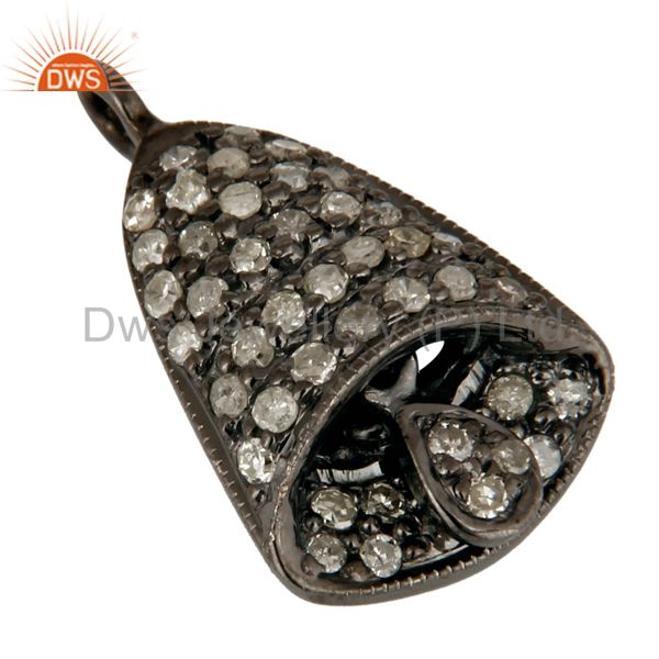 Exporter Natural Diamond Pave Set Sterling Silver Christmas Pooja Bell Charm Jewelry