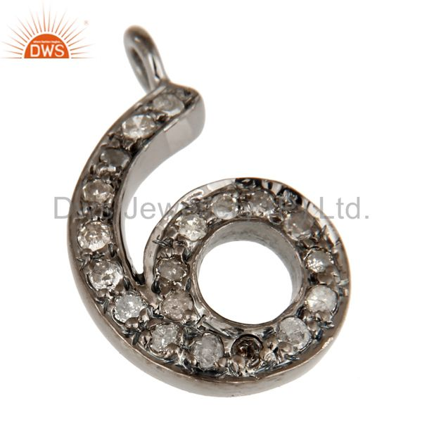 Exporter Black Sterling Silver Pave Diamond Block Number Charms Jewelry - 6