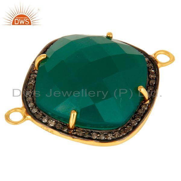 Exporter Faceted Green Onyx And Pave Diamond Connector In 18K Gold Over Sterling Silver