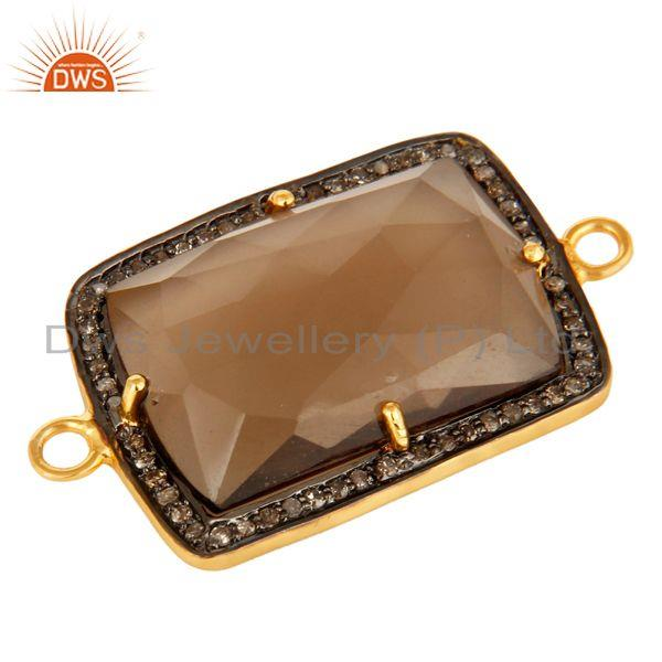 Exporter Pave Diamond And Smoky Quartz Gemstone Connector In 18K Gold On Sterling Silver