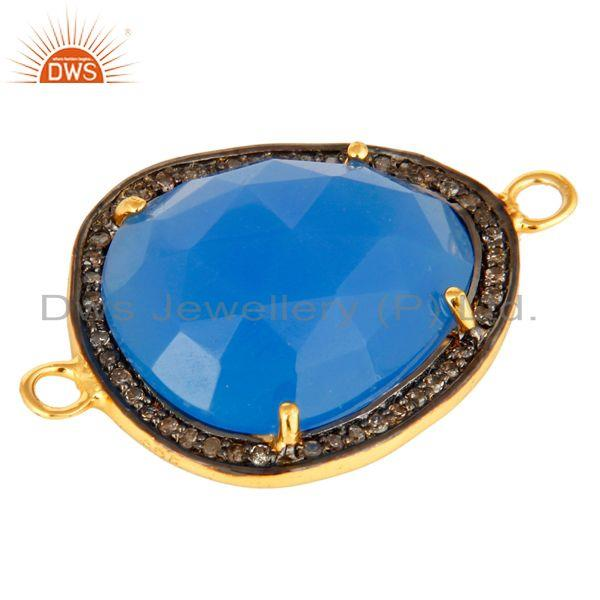 Exporter Pave Diamond Blue Chalcedony Gemstone Connector In 18K Gold On Sterling Silver