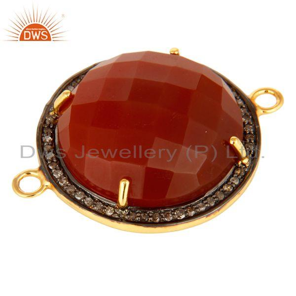 Exporter Faceted Red Onyx And Pave Diamond 18K Gold Over Sterling Silver Connector Jewelr