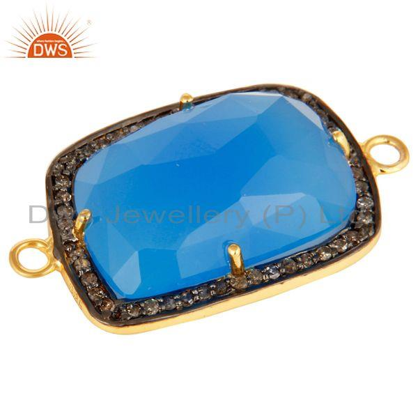 Exporter 18K Gold Plated Sterling Silver Blue Chalcedony Pave Diamond Gemstone Connector