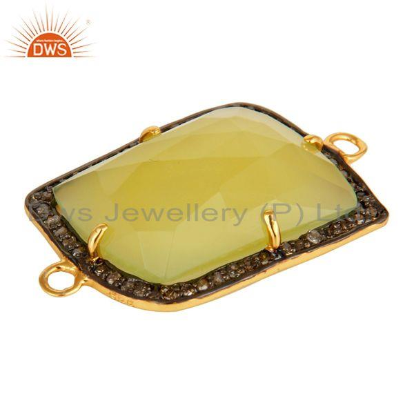 Exporter Yellow Chalcedony Gemstone Sterling Silver Pave Diamond Connector