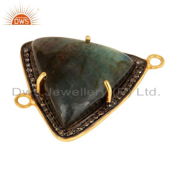 Exporter 18K Gold Over Sterling Silver Labradorite & Pave Diamond Connector Jewelry