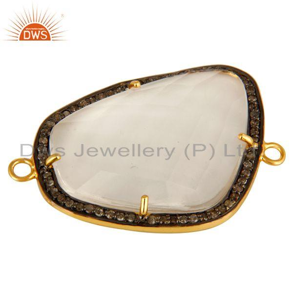 Exporter Natural Crystal Quartz Pave Diamond 18K Gold Plated Sterling Silver Connector