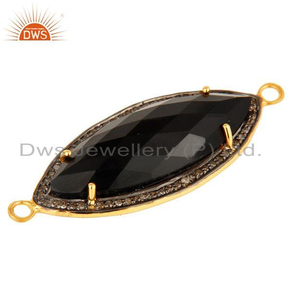 Exporter Black Onyx Gemstone Sterling Silver Pave Set Diamond Connector Jewelry