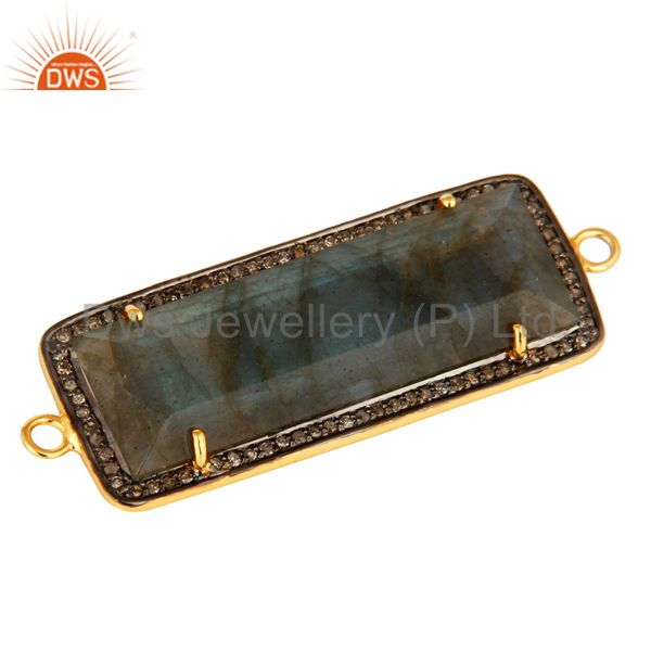 Exporter 18K Gold Over Sterling Silver Natural Labradorite And Pave Diamond Connector