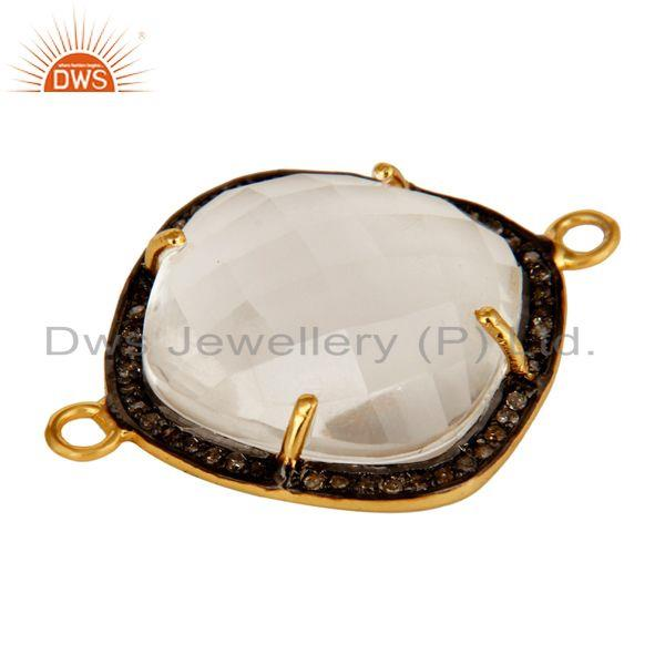 Exporter 18K Yellow Gold Plated Sterling Silver Crystal Quartz And Pave Diamond Connector