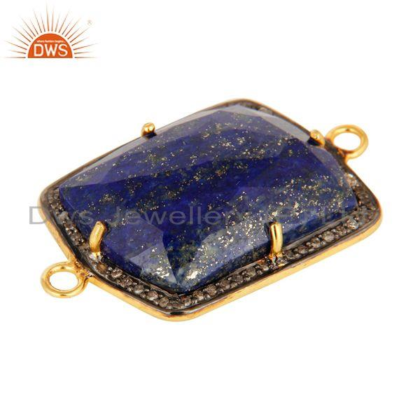 Exporter Natural Lapis Lazuli Pave Diamond Connector In 18K Gold On Sterling Silver