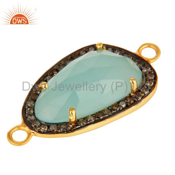 Exporter 18K Gold Over Sterling Silvrer Dyed Aqua Blue Chalcedony Pave Diamond Connector