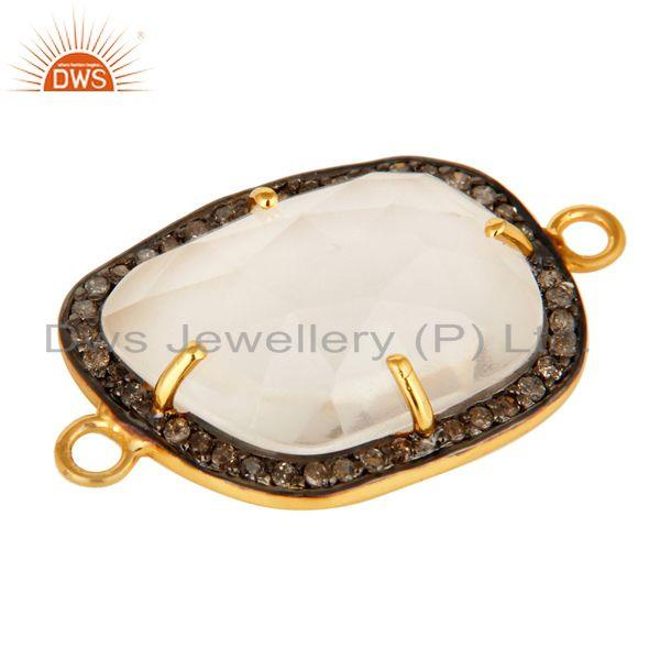 Exporter Natural Crystal Quartz Pave Diamond Sterling Silver Connector With Gold Plated