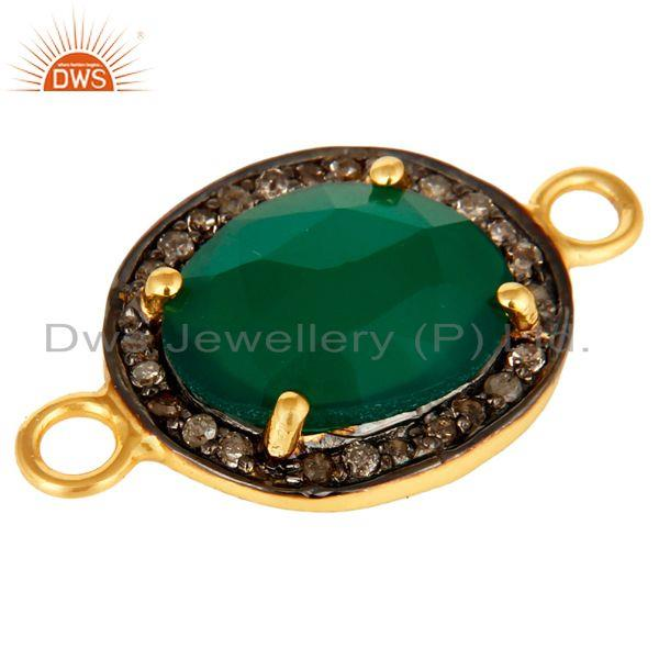 Exporter 18K Yellow Gold Over Sterling Silver Green Onyx With Pave Diamond Connector