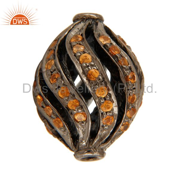 Exporter Natural Spessartite 925 Sterling Silver Gemstone Ball Beads Findings Jewelry