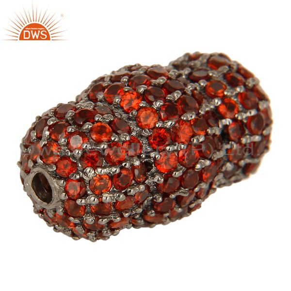 Exporter Oxidized Sterling Silver Spessartite Garnet Beads, Finding Charms Jewelry