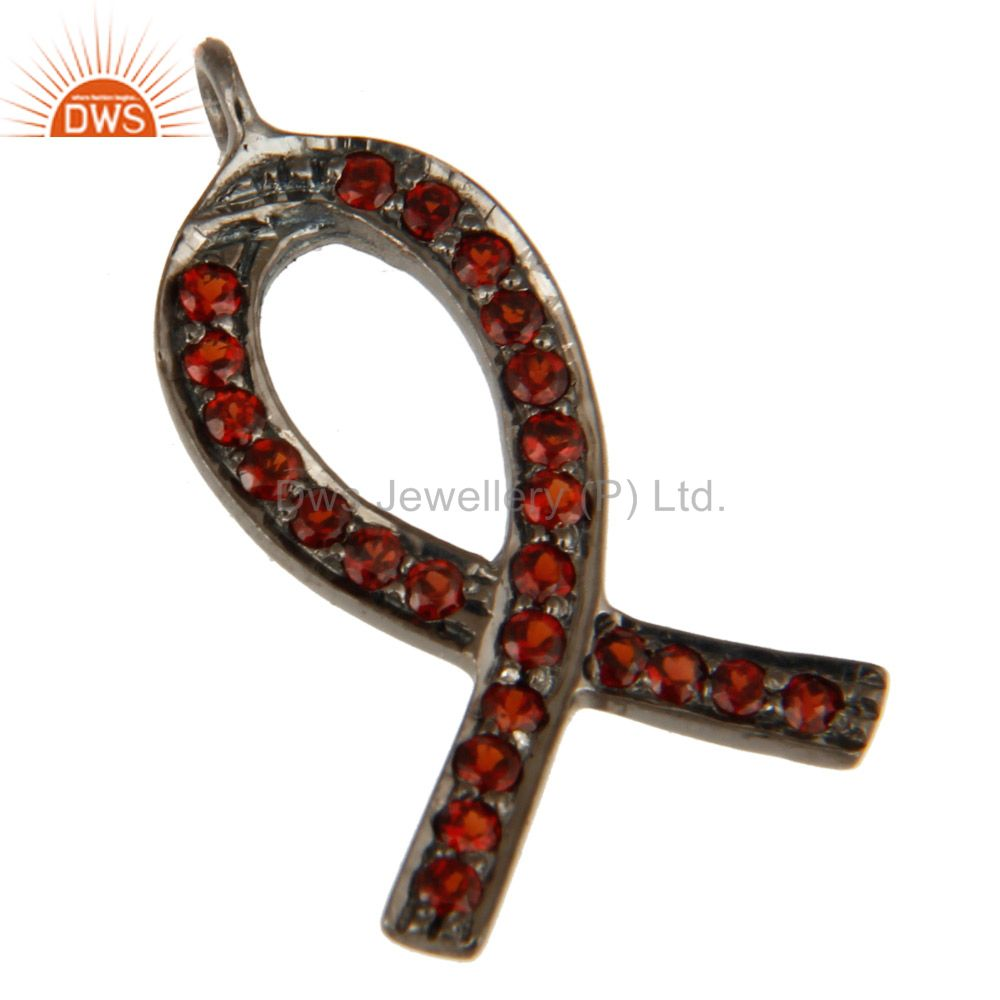 Exporter 925 Sterling Silver Pave Set Spessartite Garnet Awareness Ribbon Charms Findings