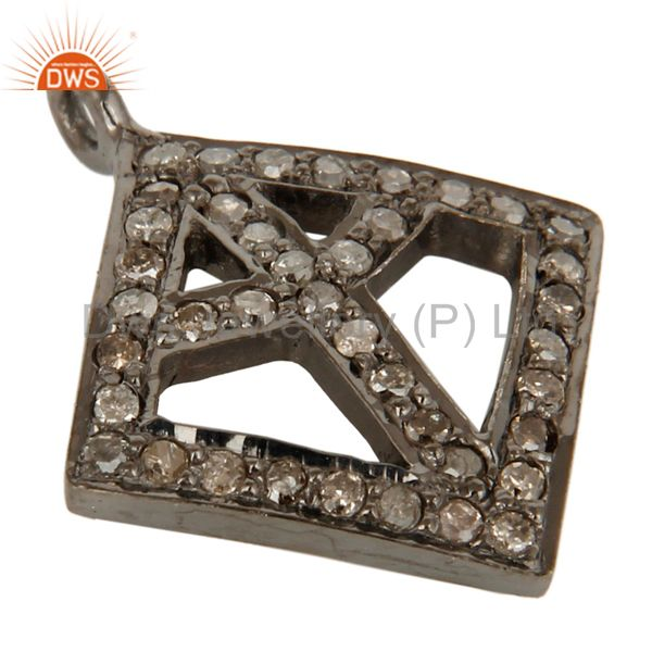 Exporter Genuine Sterling Silver Natural Pave Diamond Power Sign Charm Pendant