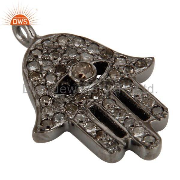 Exporter Rhodium Plated 925 Sterling Silver Pave Diamond Hamsa Charms Jewelry