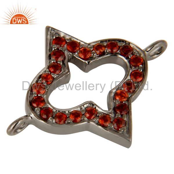 Exporter Rhodium Plated 925 Sterling Silver Natural Garnet Charms Jewelry