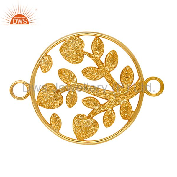 Exporter 18K Yellow Gold Plated Sterling Silver Textured Floral Charms Connector Jewelry