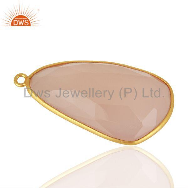 Exporter Rose Chalcedony Gemstone Gold Plated Silver Connector Jewelry Supplier