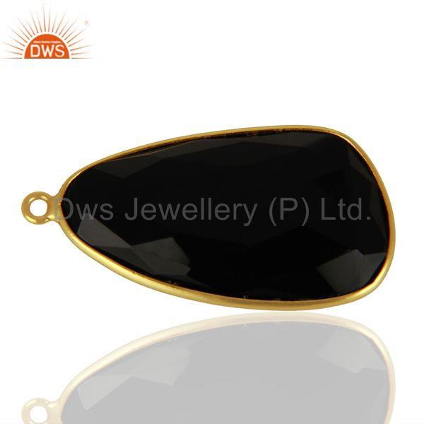 Exporter Natural Black Onyx Gemstone Gold Plated 925 Silver Pendant Connectors