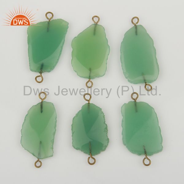 Exporter Chrysoprase Connectors,Handmade Connector,Electroplated  Gemstones Connector