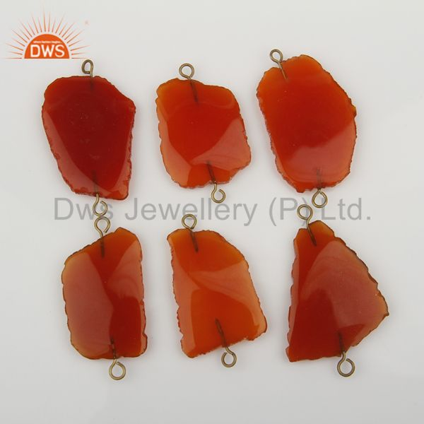 Exporter Red Onyx Connectors,Handmade Connector,Electroplated Gemstones Connector