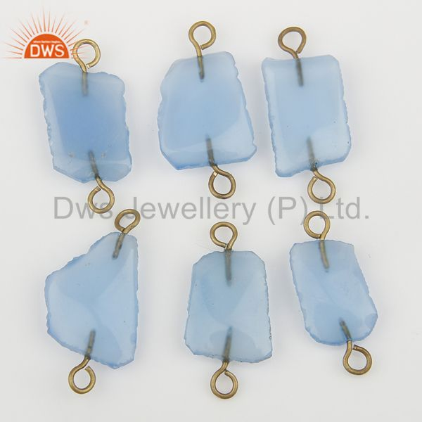 Exporter Blue Chalcedony Connectors 14K Yellow Gold Plated Brass Fashion Jewelry