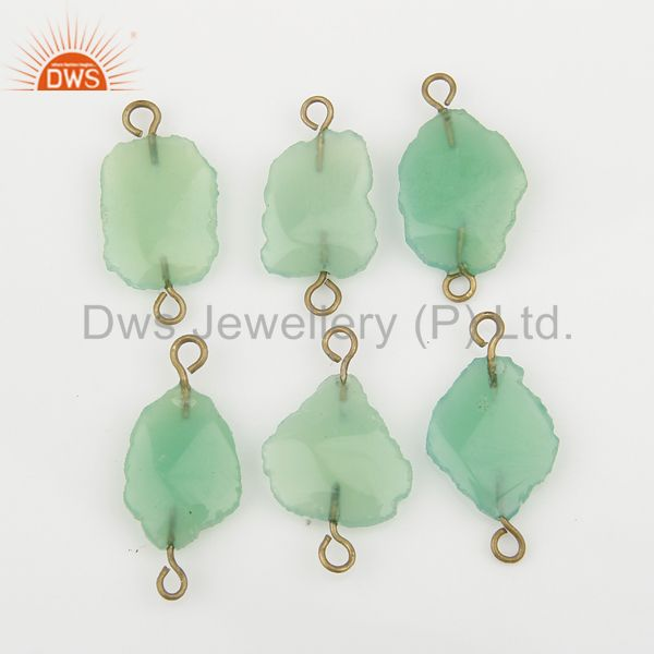 Exporter Natural Chrysoprase Connectors 14K Yellow Gold Plated Brass Fashion Jewelry