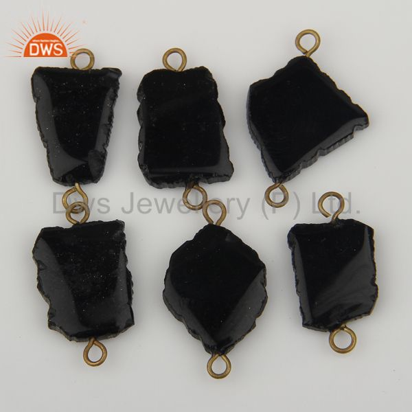 Exporter Black Onyx Gemstone Connectors 14K Yellow Gold Plated Brass Fashion Jewelry