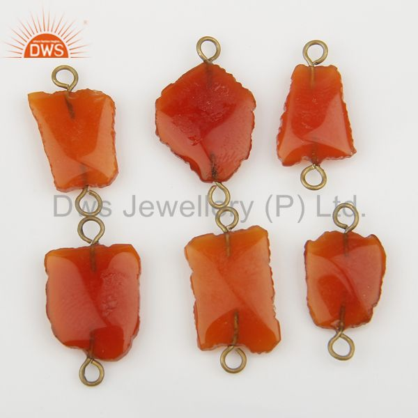 Exporter Red Onyx Gemstone Connectors 14K Yellow Gold Plated Brass Fashion Jewelry