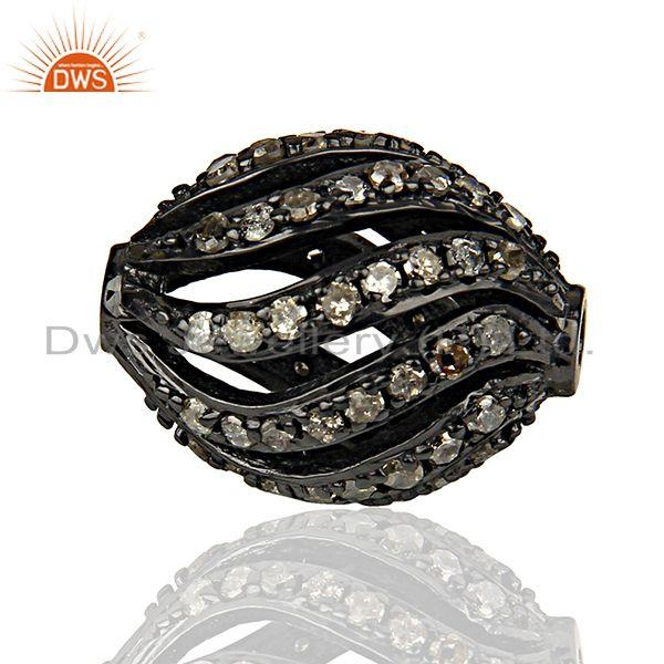 Exporter Rhodium Plated Silver Pave Diamond Beads Findings Jewelry Supplier