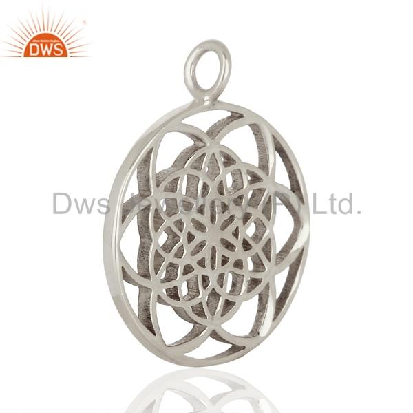 Exporter Flower Of Life 925 Sterling Silver White Rhodium Plated Jewellery Finding