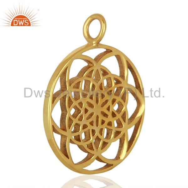 Exporter Flower Of Life 925 Sterling Silver 14K Gold Plated  Jewellery Finding