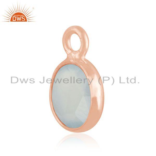 Exporter Aqua Chalcedony Gemstone Rose Gold Plated 925 Silver Charm Jewelry Findings