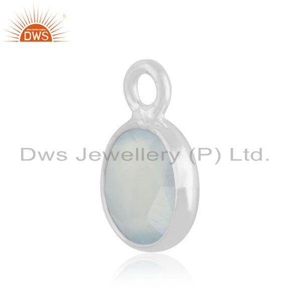 Exporter 92.5 Sterling Silver Aqua Chalcedony Gemstone Charm Jewelry Findings Manufacture