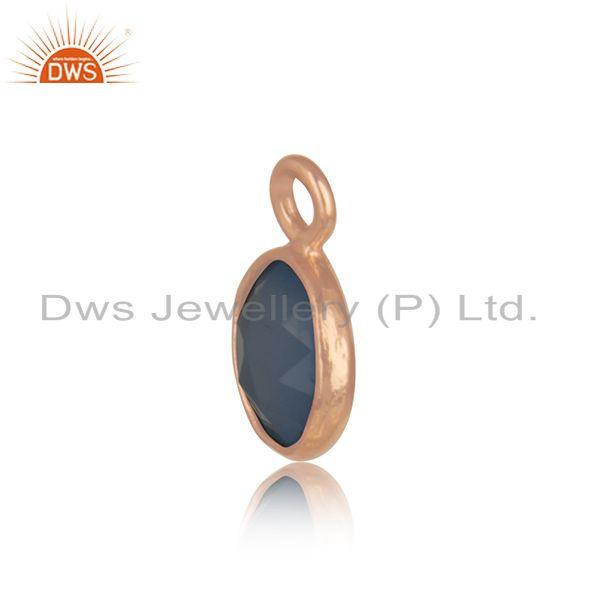 Exporter Rose Gold Plated 925 Silver Blue Chalcedony Gemstone Connector Jewelry