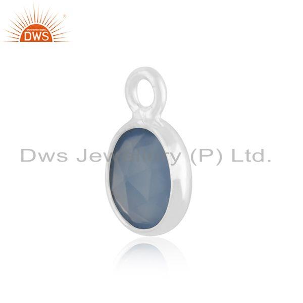 Exporter Blue Chalcedony Gemstone 925 Sterling Silver Charm Jewelry Findings Manufacturer