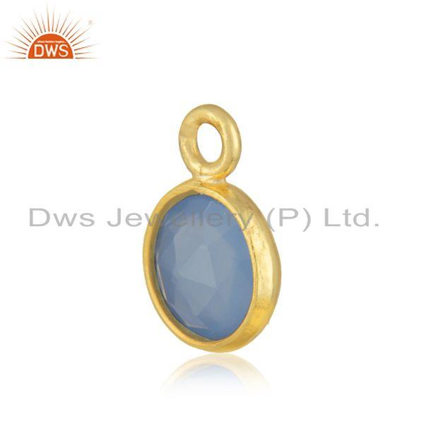 Exporter 18k Gold Plated 925 Silver Blue Chalcedony Gemstone Connector Jewelry
