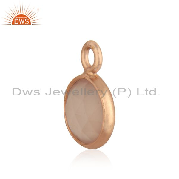 Exporter Rose Chalcedony Gemstone 925 Silver Rose GOld Plated Jewelry Findings Charm